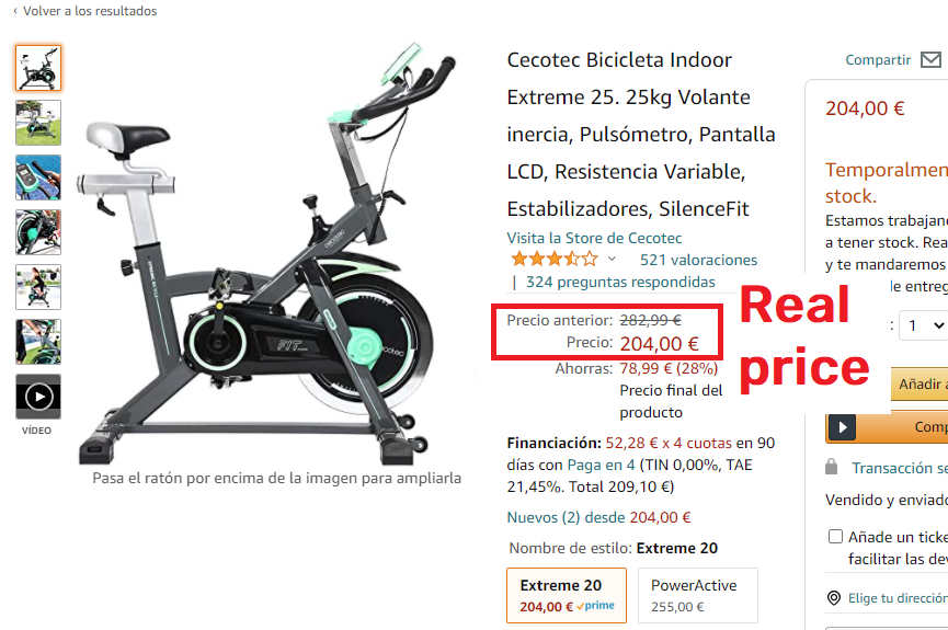 amazon real exercise cycle price