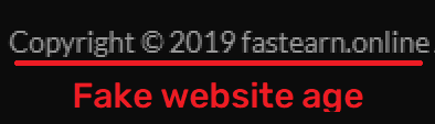 fastearn scam fake website age