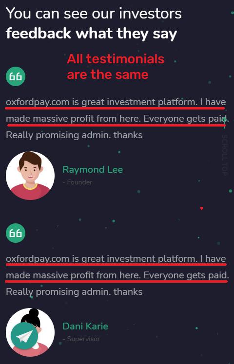 oxfordpay scam fake testimonials