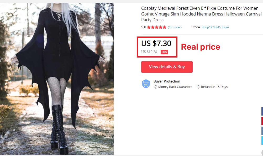 aliexpress gothic dress real price