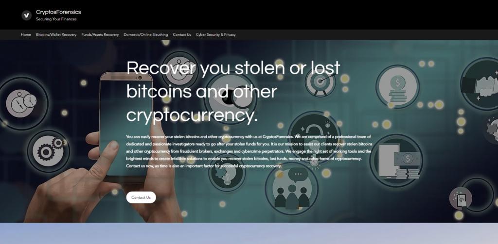 cryptosforensics scam home page