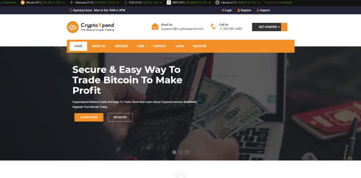 cryptoxpand scam home page