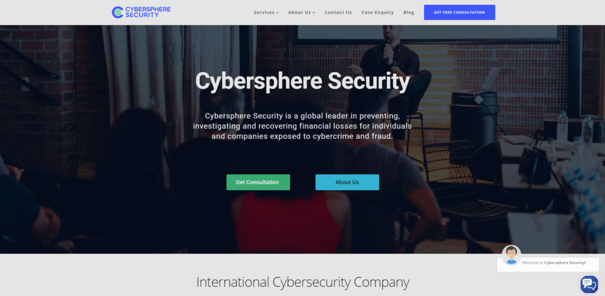 cybersphere security scam home page