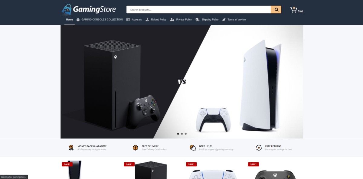 gamingstore scam home page