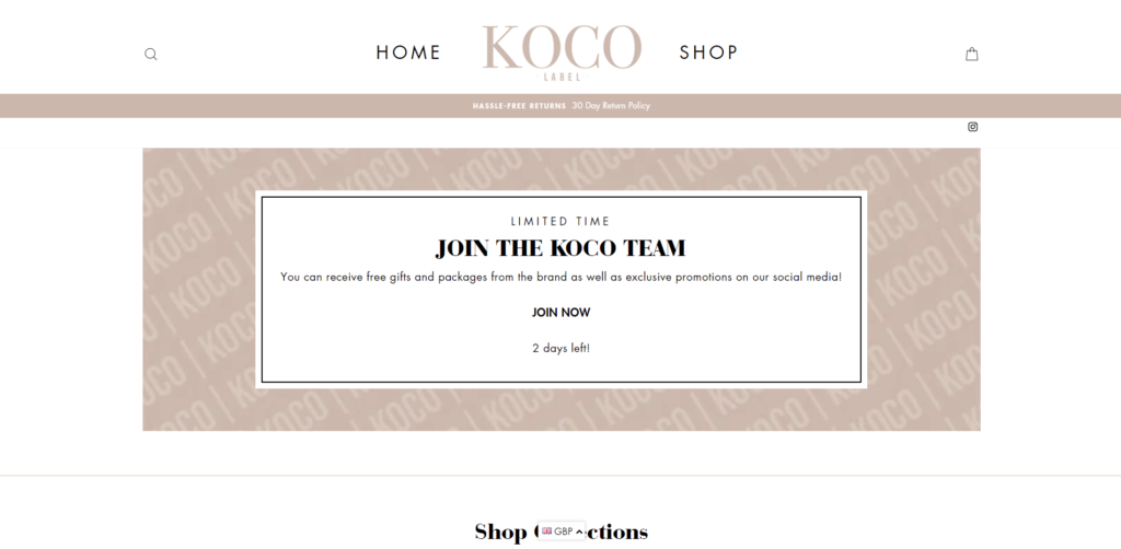 kocolabel scam home page