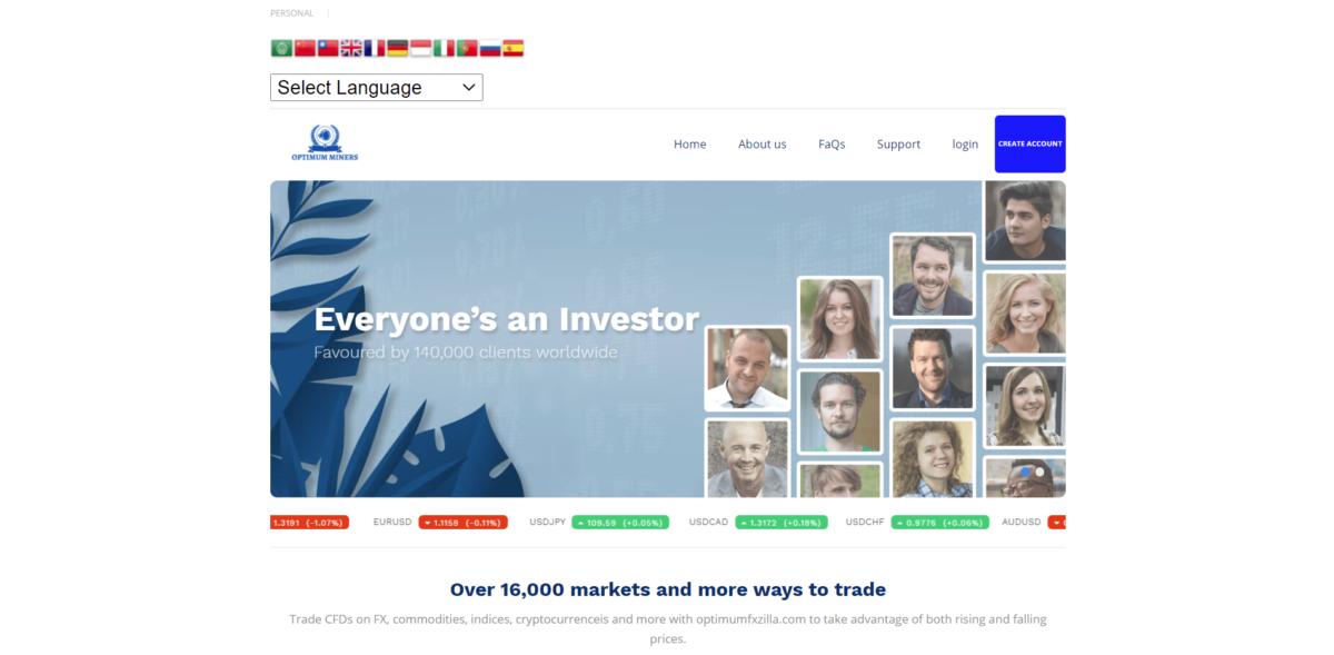 optimumfxzilla scam home page
