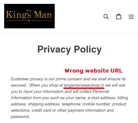 Kingsmanshop scam fake name kingsmenswearshop
