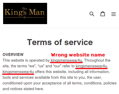 Kingsmanshop scam fake name kingsmenswear4u