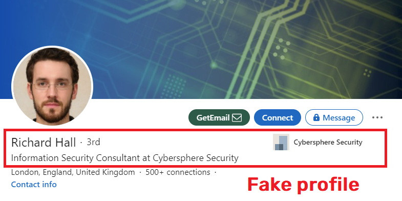 Cybersphere Security richard hall fake profile linkedin