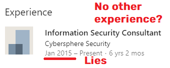 Cybersphere Security fake experience linkedin