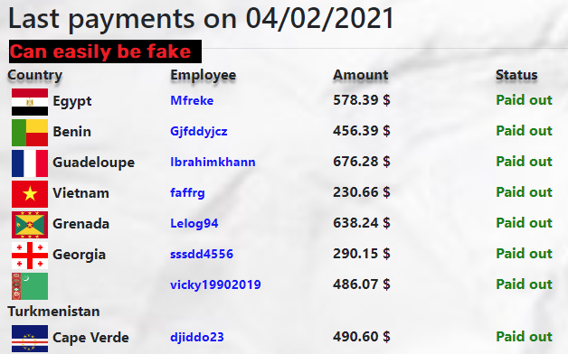 fake payment list