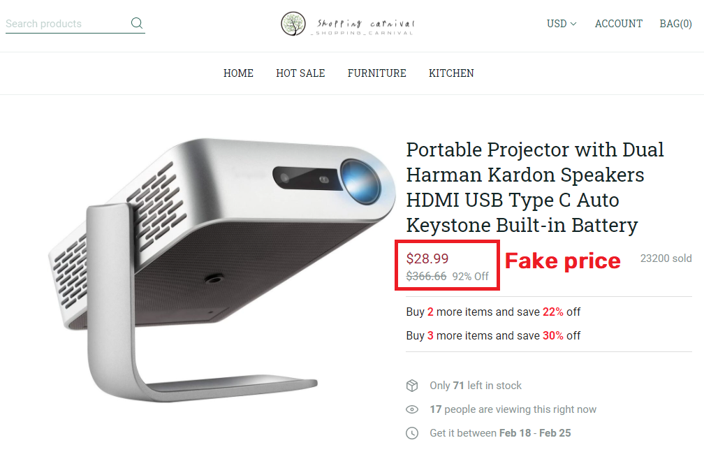 Bvcllecc scam portable project fake price
