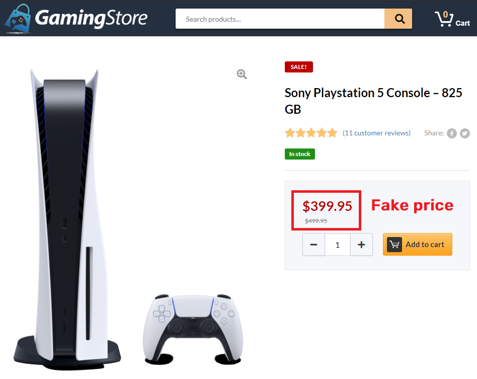 gamingstore scam fake ps5 price
