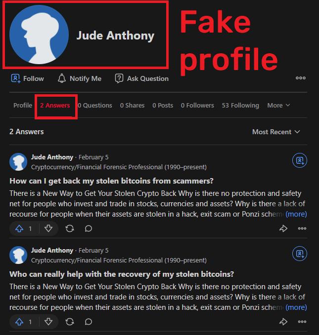 CryptosForensics scam fake quora profile