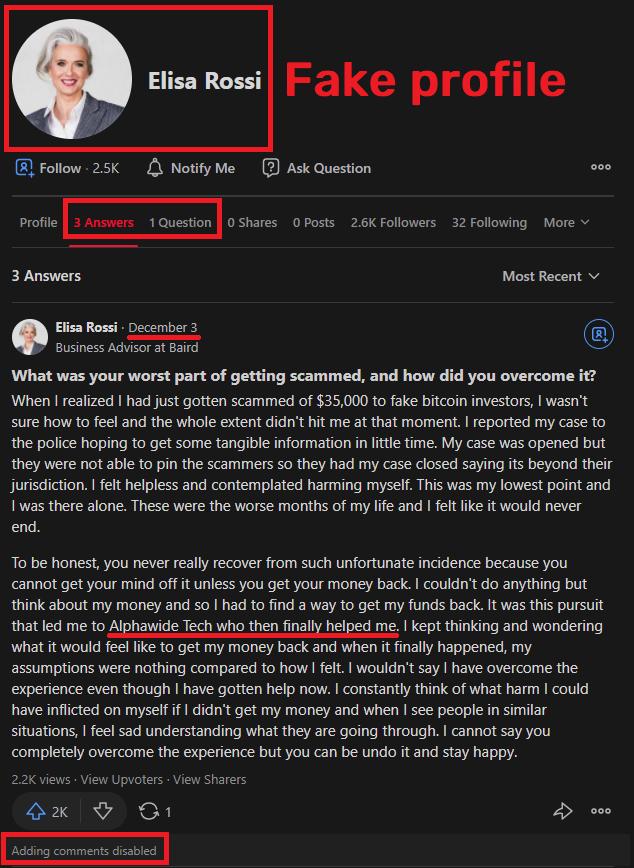alphawide tech scam elisa rossi fake profile quora