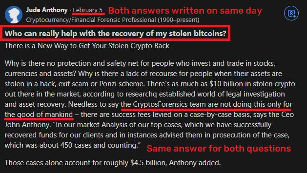 CryptosForensics scam fake quora answer 2