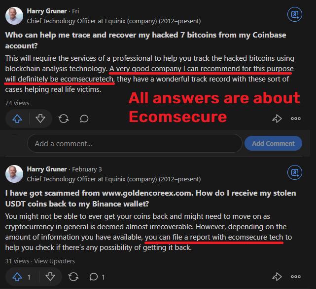 Ecomsecuretech scam fake quora answers