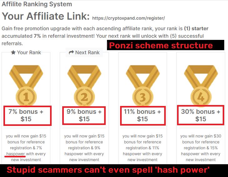 cryptoxpand scam referral system ponzi scheme