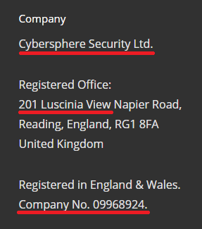 Cybersphere Security fake company registration