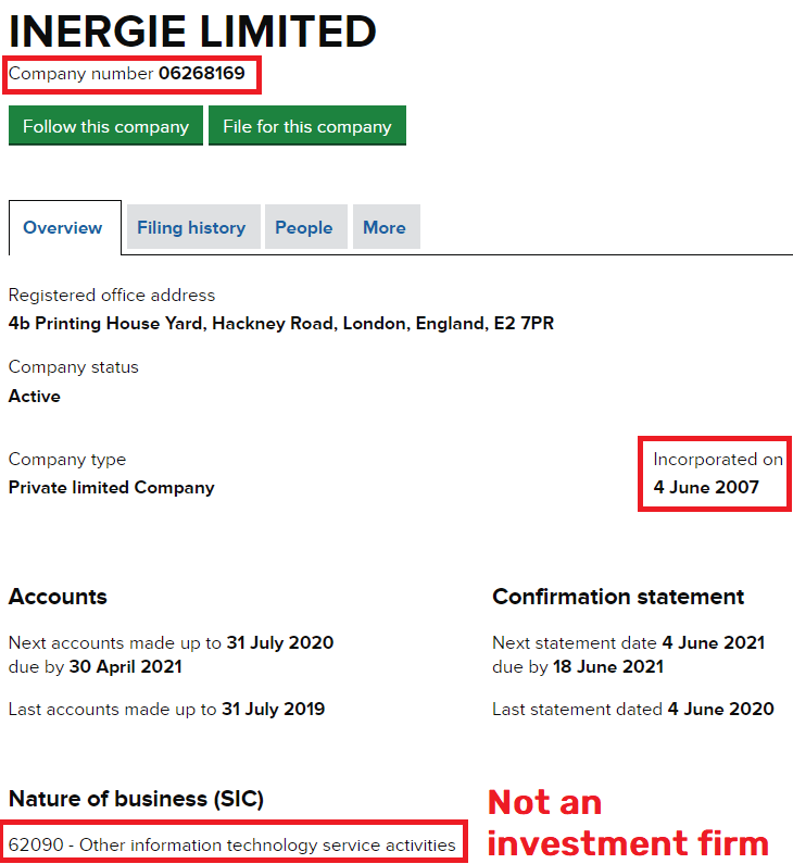 inergie scam fake uk registration 2