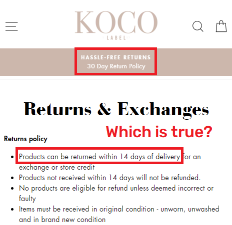 kocolabel scam fake return policy