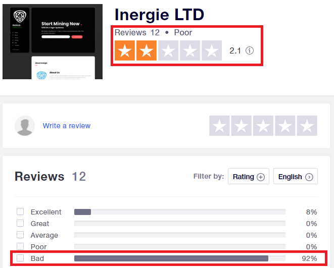 inergie scam trustpilot rating