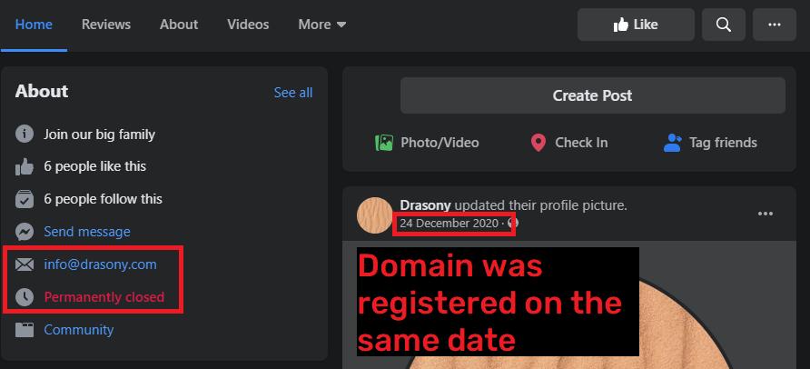 drasony scam facebook page 1