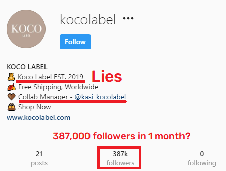 kocolabel scam instagram page fake age