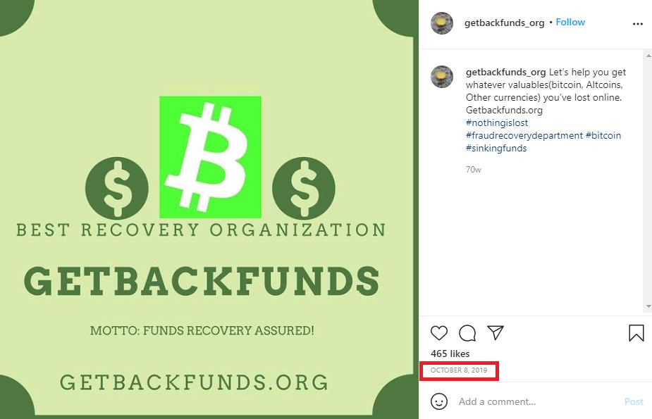 GetBackFunds scam instagram page