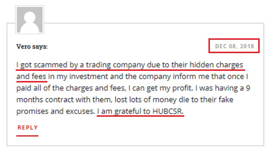hubcsr fake testimonial