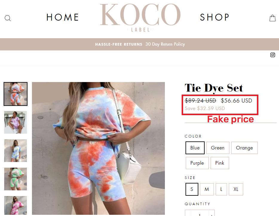 kocolabel scam tye dye two piece fake price