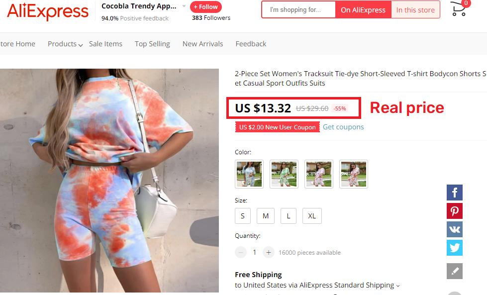 aliexpress tye dye two piece real price