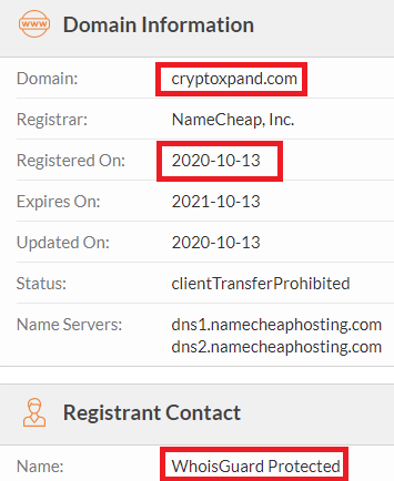 cryptoxpand scam whois