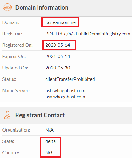 fastearn scam whois