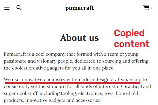 pumacraft scam copied content