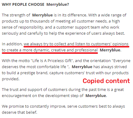 merryblue scam about us copied content