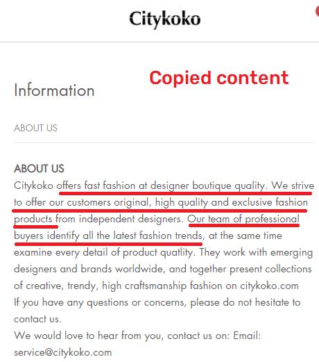 citykoko scam about us copied content