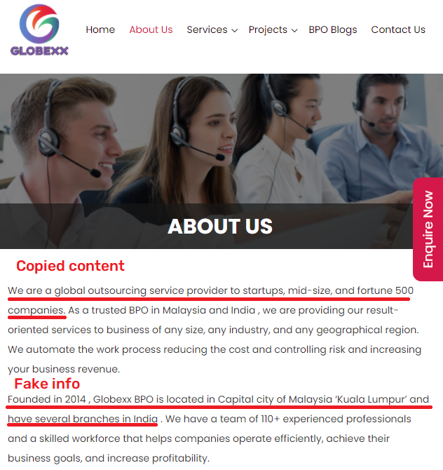 globexx scam about us page copied content