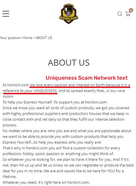 honloni scam about us uniqueness scam network