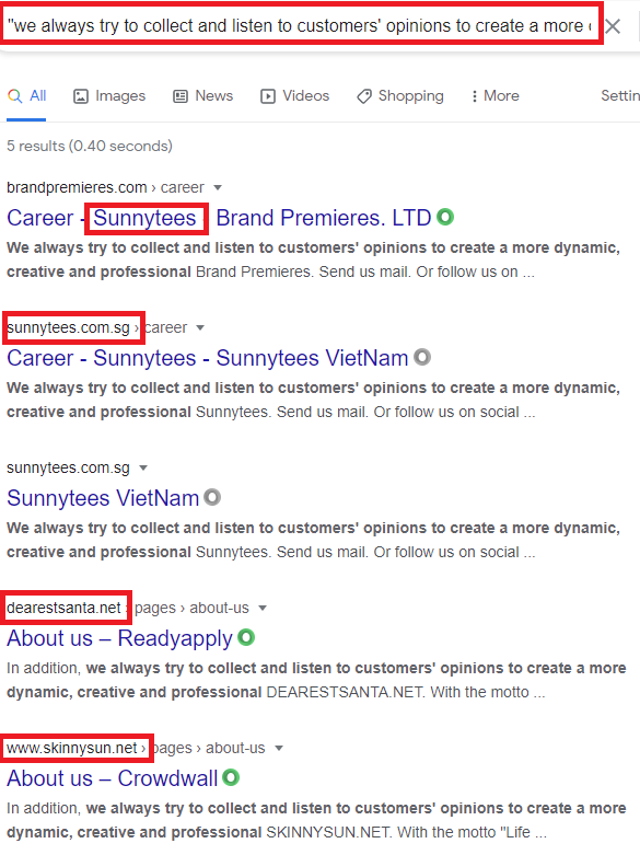 sunnytees scam about us copied content