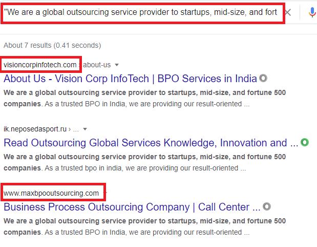 bpo services scams copied content