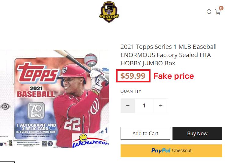 honloni scam fake price topps mlb baseball jumbo box
