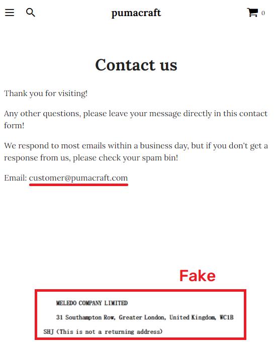 pumacraft scam fake contact details