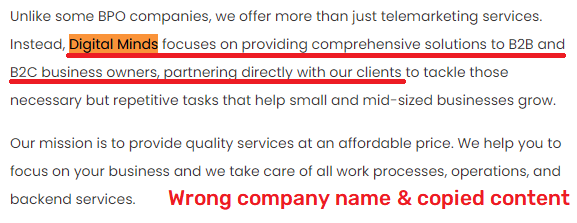 globexx scam digital minds wrong company name