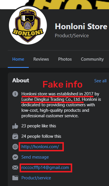 honloni store scam facebook page 1