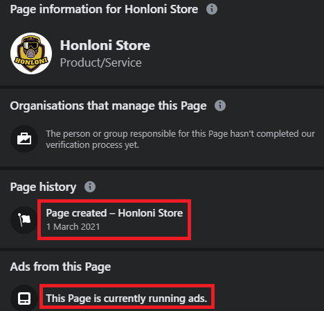 honloni store scam facebook page 2