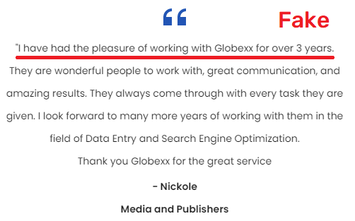 globexx scam fake testimonial
