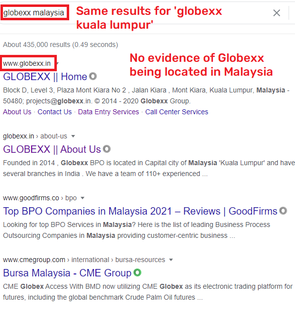 globexx does not exist in Malaysia