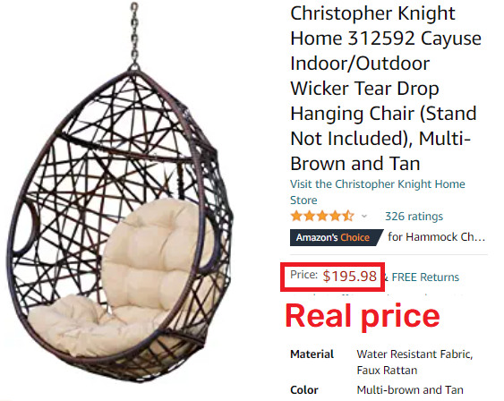 amazon hanging chair real price