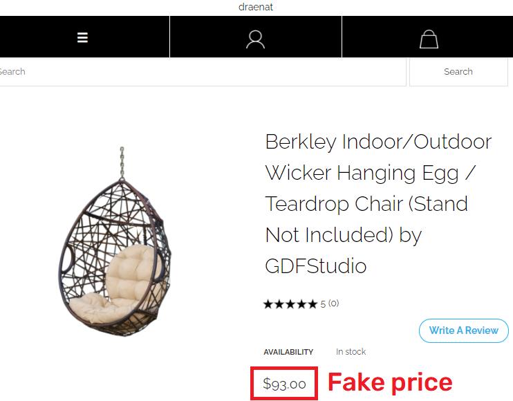 draenat scam hanging chair fake price